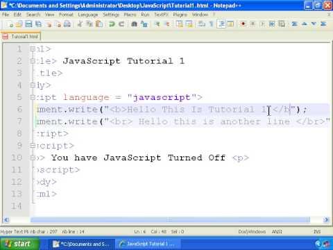 JavaScript Tutorial 1 - Getting Started - Hello World