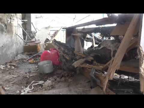 Азербайджанские дома в городе Тертер, поврежденные в результате обстрела 2 апреля