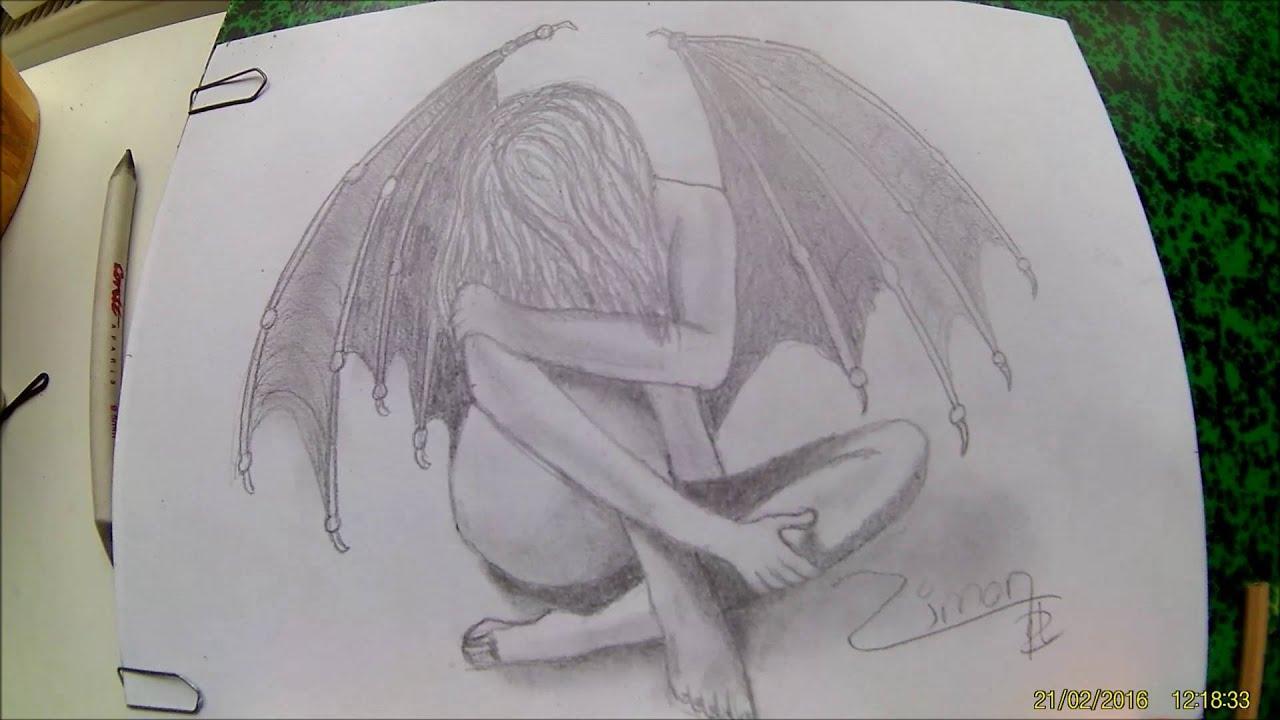 Dessin d 39 un ange au crayon de bois youtube - Dessin d ange ...