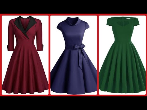 Good Looking Plain Gorgeous Skater Dresses Design Beautiful Party Wear Collection  2020
