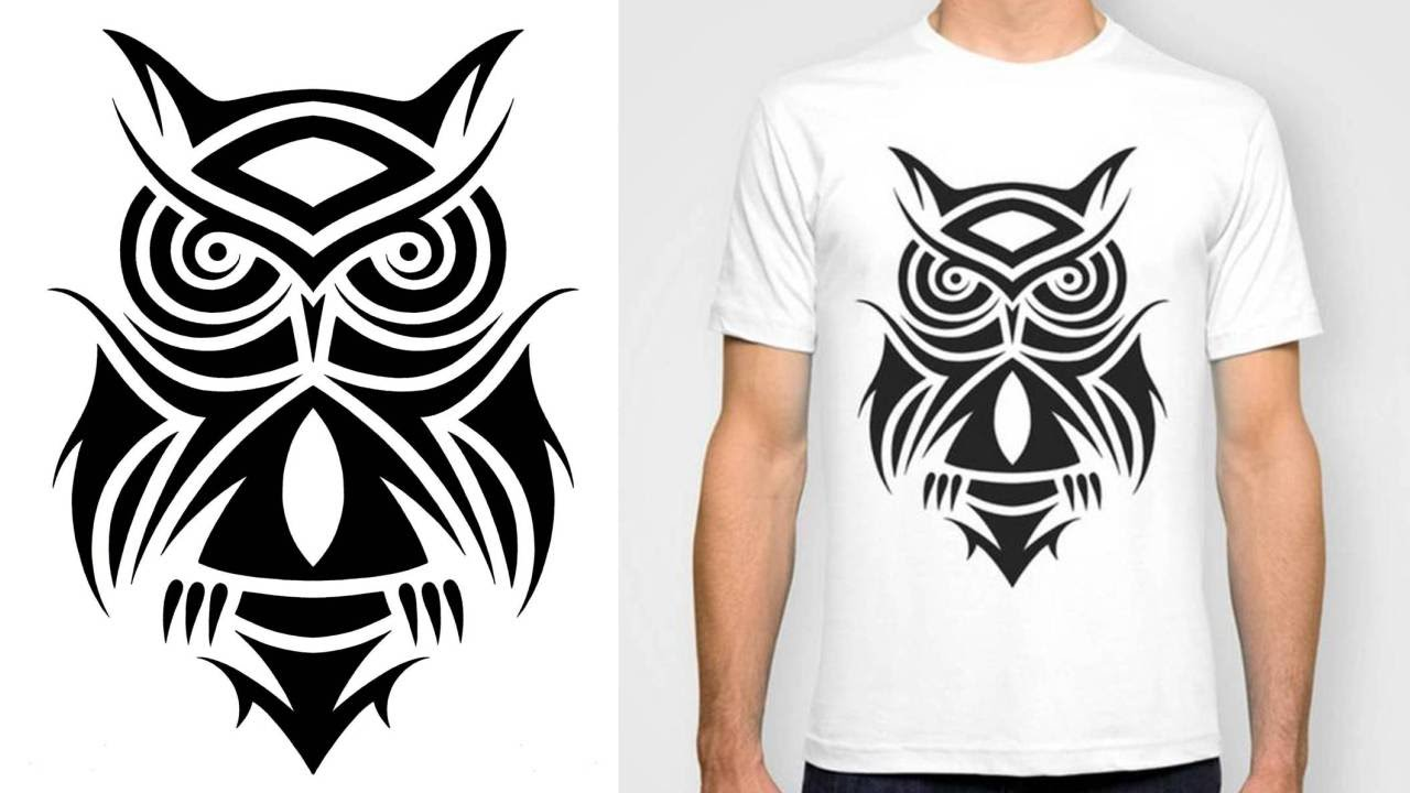 Designing a T-Shirt - Tribal Owl Tattoo Design - YouTube