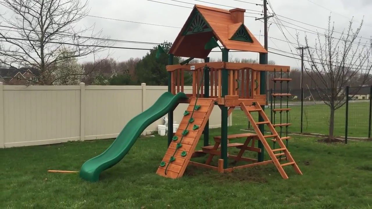 gorilla chateau tower playset install youtube