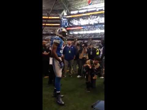 cowboy fan yells at Dominic Raiola before playoff game at A