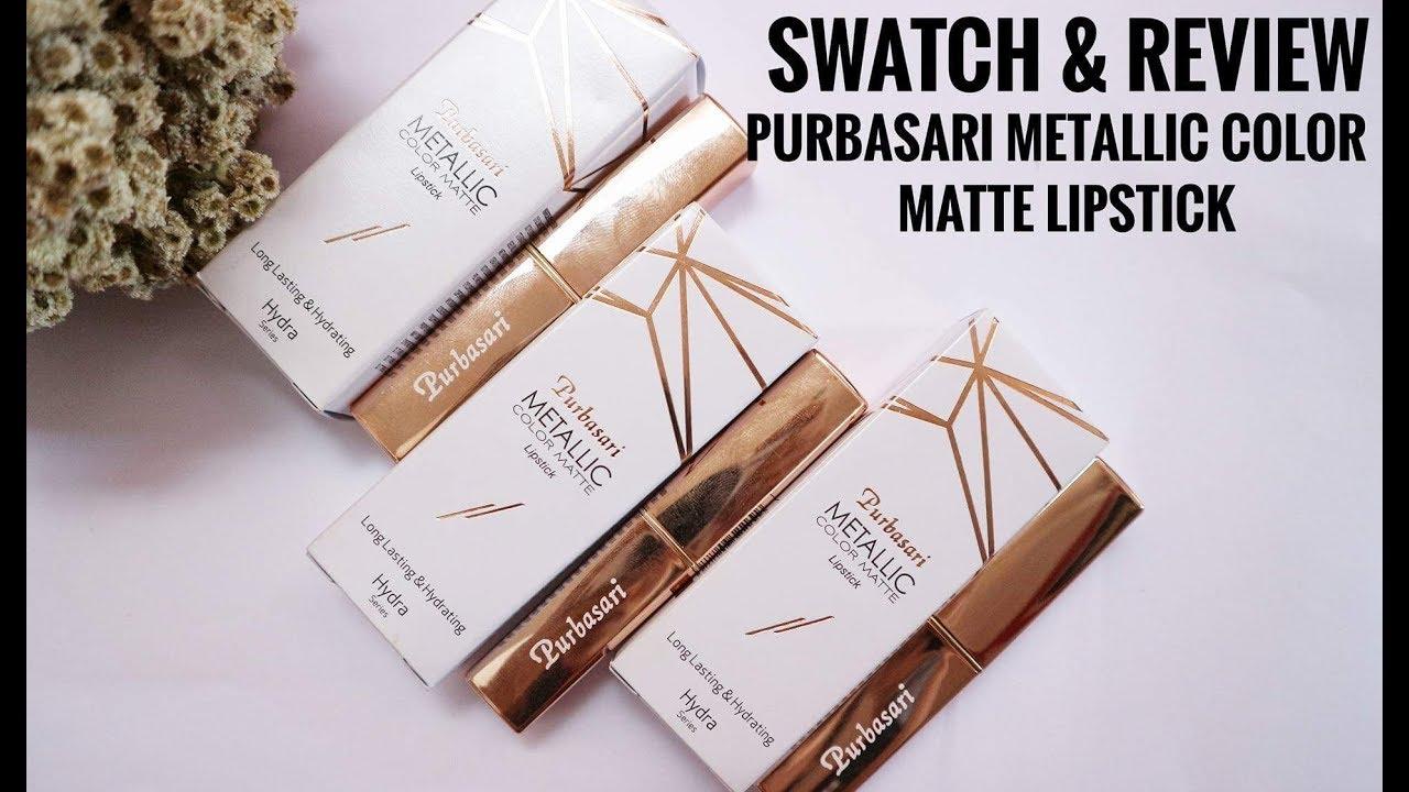 Swatch Review Purbasari Metallic Color Matte Lipstick Enik Lipstik Collor Karnila Indonesia