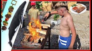 ВЛОГ: Эдвин жарит очень вкусный шашлык из рыбы КИТА ! Как сделать сочный и нежный шашлык из рыбы