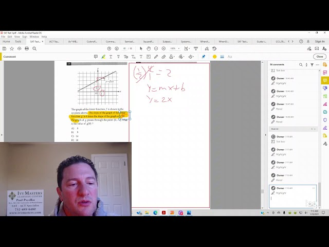 SAT math, test 5, section 4, number 28 functions