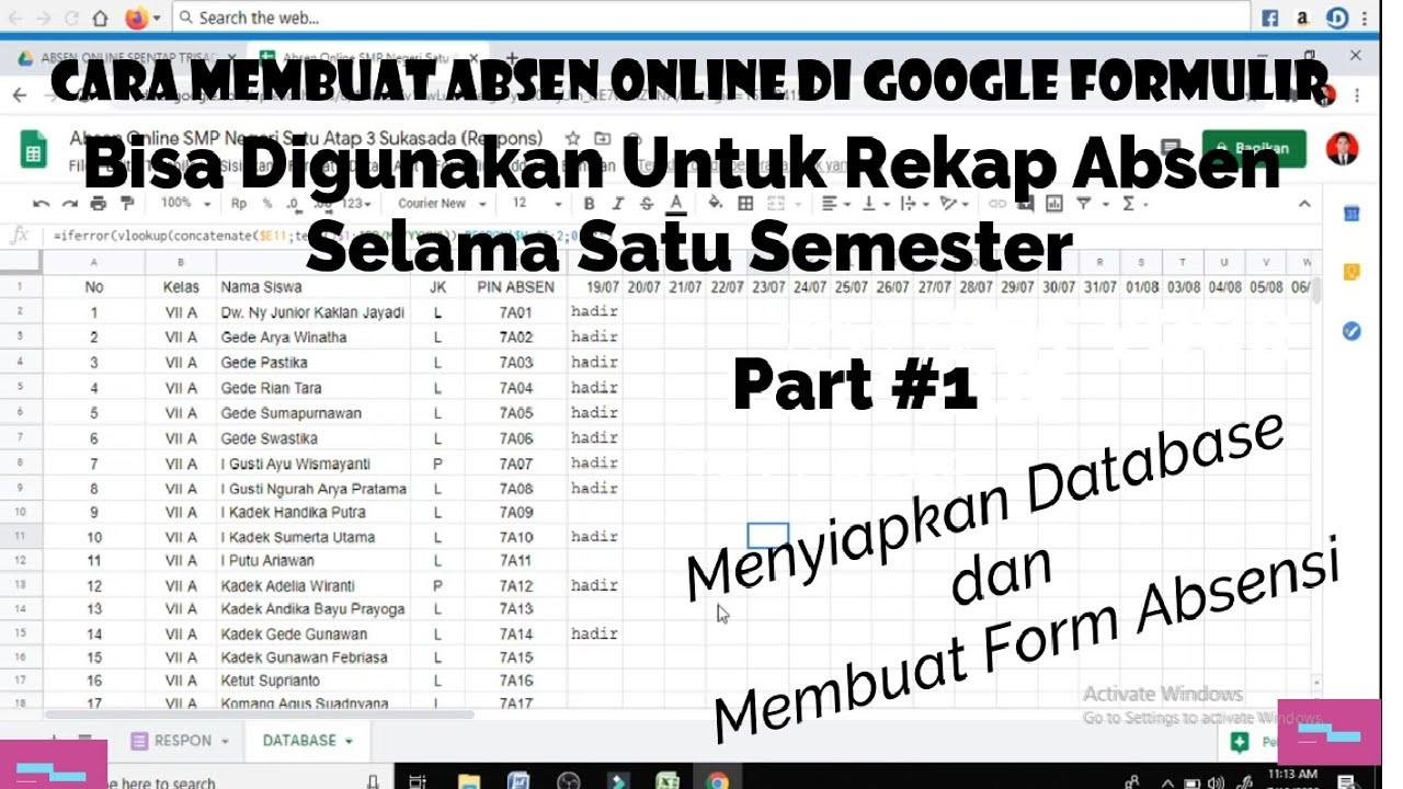 Cara Membuat Absen Online Di Google Form Youtube