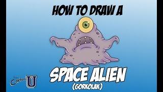 How to Draw a Space Alien - Gorkolak (EASY)