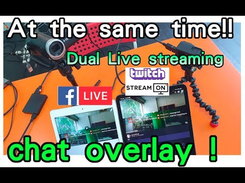 dual live stream with message chat overlay