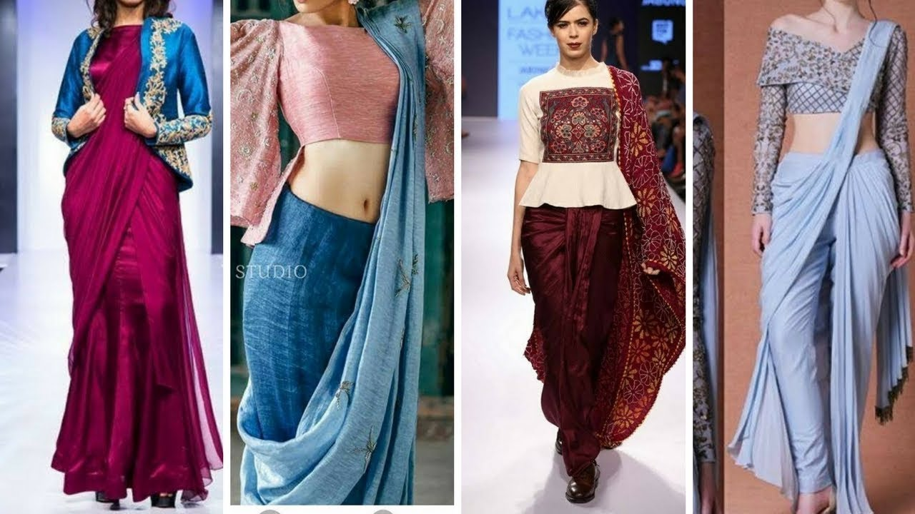 Indo Western Dhoti Saree Design Ideas Dhoti Saree For Wedding Guest Engagement Reception