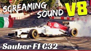 Sauber C32 EPIC Burnouts + Screaming V8 sound! - Ericsson & Leclerc - Formula 1 Milan Festival 2018