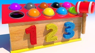 Teach Colors with 3D Wooden Balls and Hammer