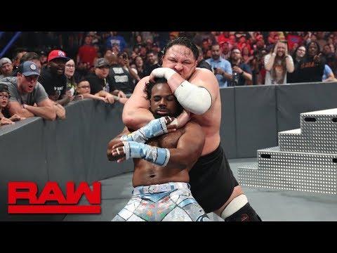 Samoa Joe interrupts The New Day's battle with The Viking Raiders: Raw, July 1, 2019