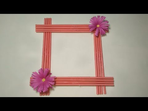 Make Awesome Photo Frame with Paper Sticks Diy paper Photo Frame Making Easy Craft