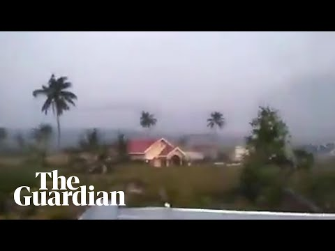 Footage shows Indonesian earthquake causing soil liquefactio
