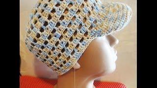 Шапочка Часть 1 Beanie with a visor for boy Crochet Part 1