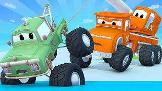 Thị trấn quái vật -  MÙA ĐÔNG - Người tuyết và chiếc xe hơi bị đóng băng ! - phim hoạt hình về 🚗