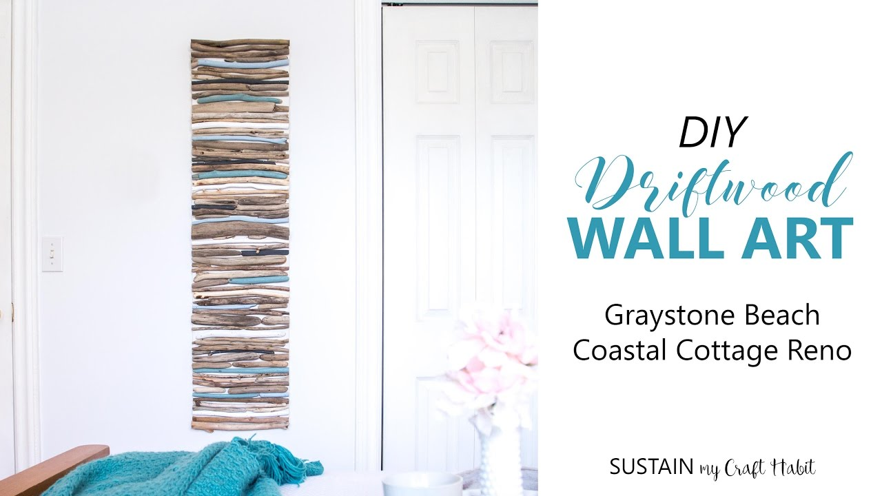 DIY Coastal Decor   Painted Driftwood Wall Art // #GraystoneBeach Cottage