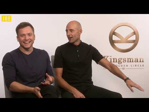 Taron Egerton & Mark Strong on THAT orange Kingsman jacket