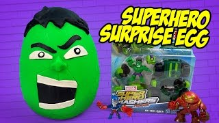 marvel hulk superhero play doh surprise egg with avengers toys spiderman toys by kidcity