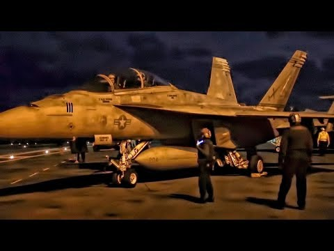 Jet Aircraft Launch & Land At Night • USS Gerald R. Ford