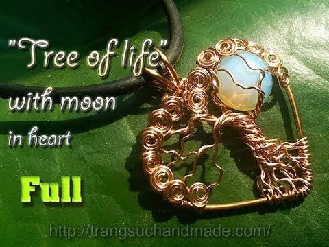 """pendant """"Tree of life with moon"""" in heart with opalite no holes - full version ( slow ) 320"""