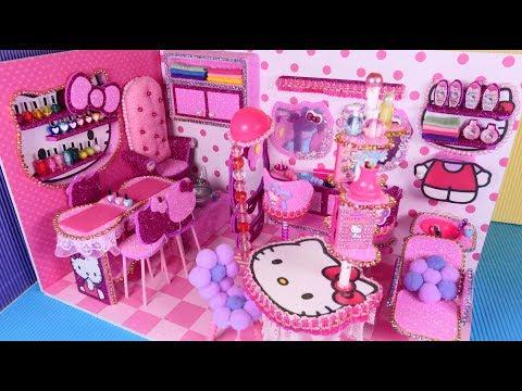 DIY Miniature Hello Kitty dollhouse Nail, Makeup and Hair salon