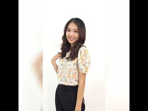 Áo kiểu nữ thời trang Eden dáng suông họa tiết hoa - ASM101