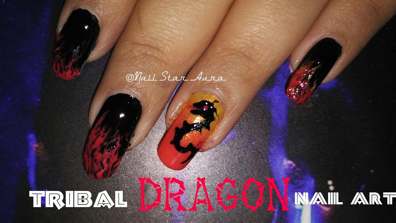 How to do TRIBAL DRAGON NAIL ART Design with FIRE | Step by step nail art  tutorial | Nail Star Aura - How To Do TRIBAL DRAGON NAIL ART Design With FIRE Step By Step