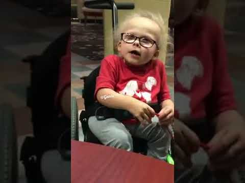 Diabled little girl sing amazing grace song
