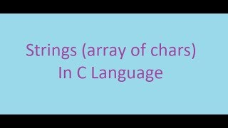 C Programming Course || 9#How to create a string (ARABIC)