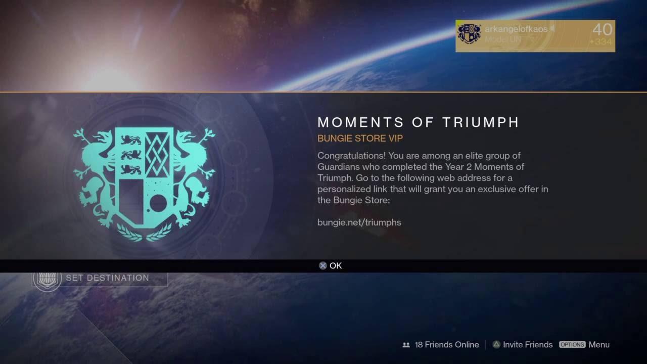 moments of triumph bungie store vip (destiny - orbit prompt) - youtube