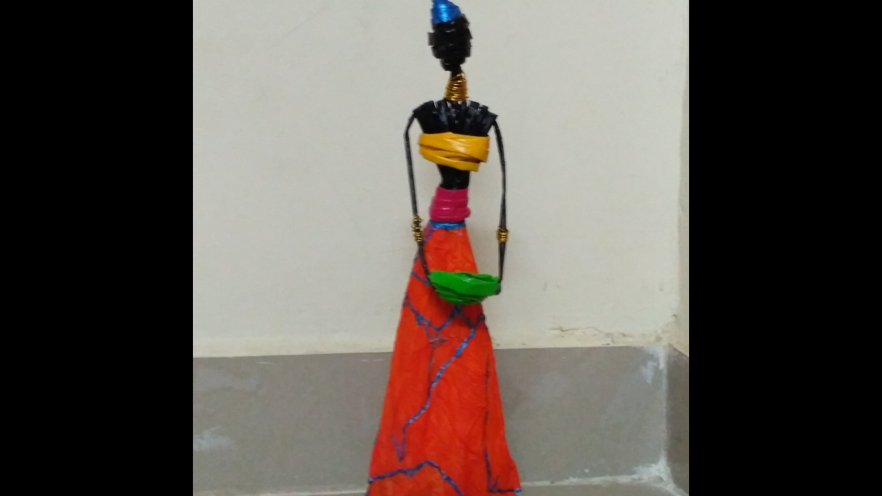African doll making with news paper tubes youtube for Making best from waste
