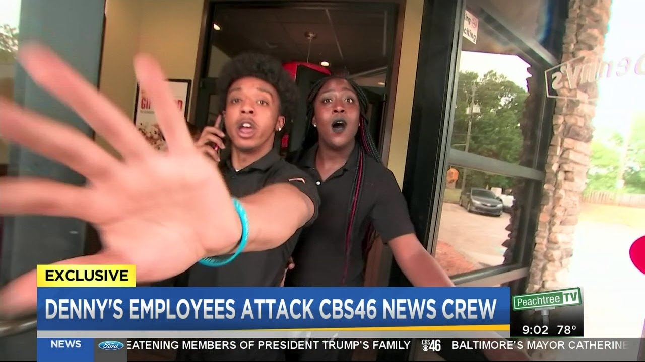 Denny's employees attack CBS46 News crew