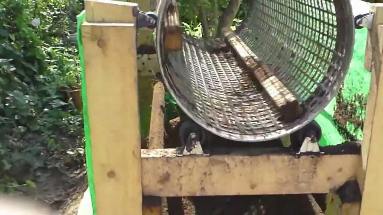 電動回転ドラム式土ふるい機(Homemade rotary soil screen /sifter ) - YouTube