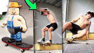 Roblox skateboarding vs me irl skating...
