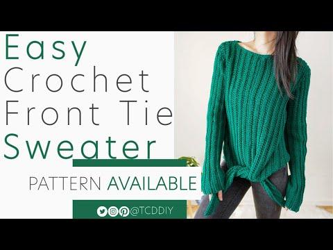 Crochet Easy Front Tie Long Sleeve Top | Pattern \u0026 Tutorial DIY