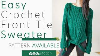 Вязаный крючком свитер с завязками спереди  Выкройка и руководство DIY