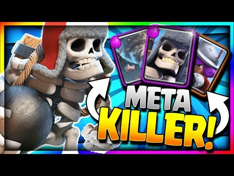 AMAZING ANTI-META LADDER STRATEGY! Super Defense Shutdown! Updated Giant Skeleton Deck Clash Royale