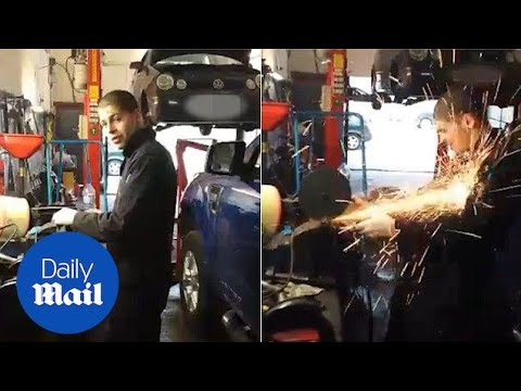 Apprentice Mechanic Fires Sparks Into His Unprotected Face - Daily Mail