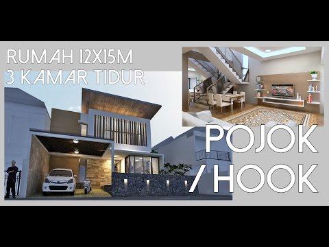Desain rumah lahan pojok 12x15m dengan 3 kamar tidur