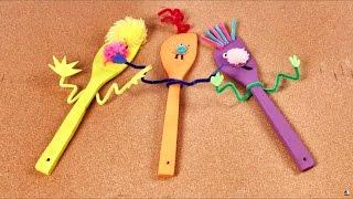 como hacer marionetas con cucharas de madera juguetes para niños con materiales caseros