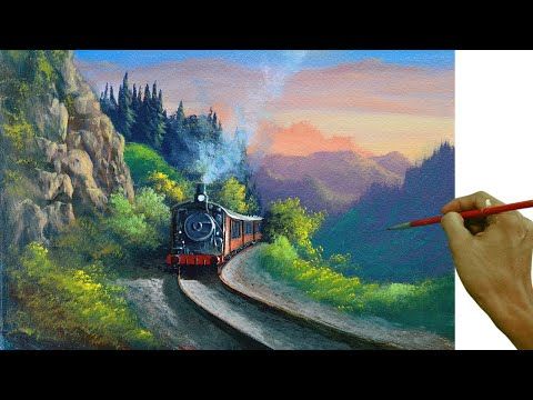 Acrylic Landscape Painting Tutorial / Old Steam Train in the Mountain