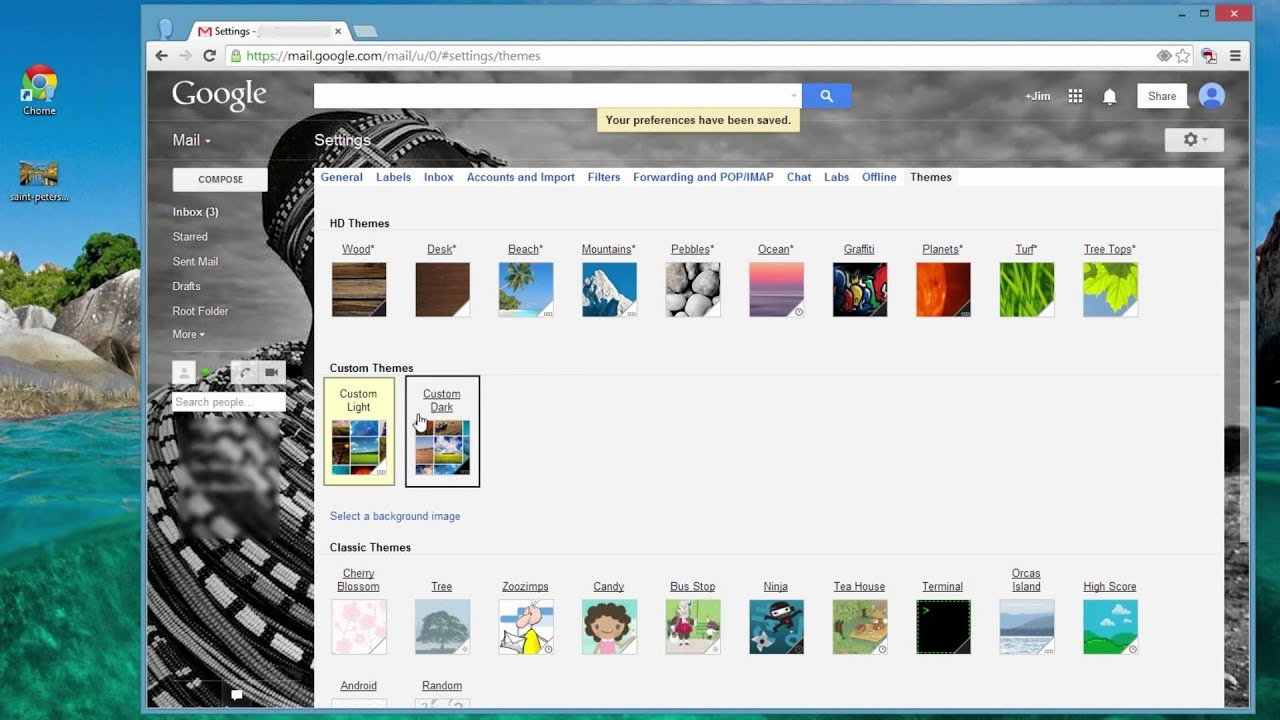 Customizing Gmail with Themes and Custom Backgrounds