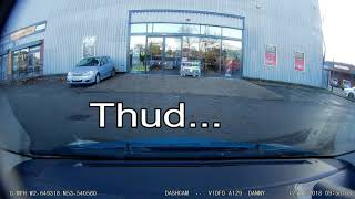 Car driver smacks my car door getting out at Halfords Wigan