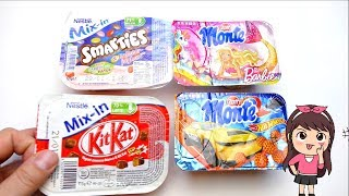 Smarties KitKat Joghurt Mix and Monte Barbie Hot Wheels Pudding
