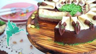 Mozart Käsekuchen - Käsekuchen mit Nougat, Marzipan & Pistazien - Cheesecake Rezept - Kuchenfee