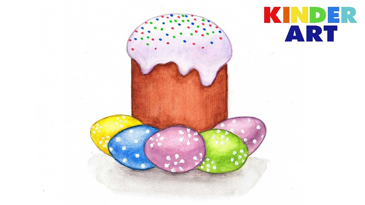Как нарисовать пасхальный кулич с яйцами | Рисунки на ...