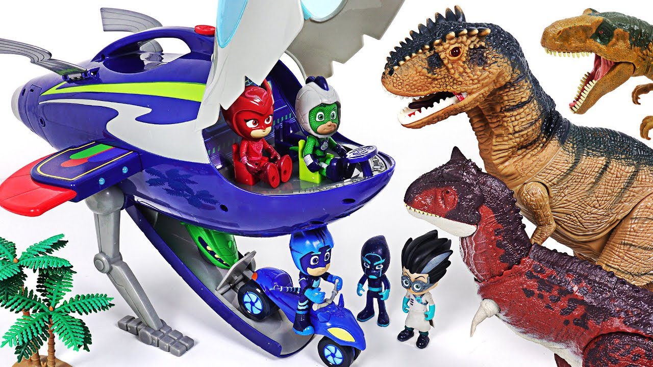 PJ Masks Super Moon Adventure HQ Rocket! Defeat the giant dinosaurs and vilians! - DuDuPopTOY