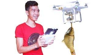 PHD | Thử Thách Câu Cá Bằng Flycam | Fishing Challenge